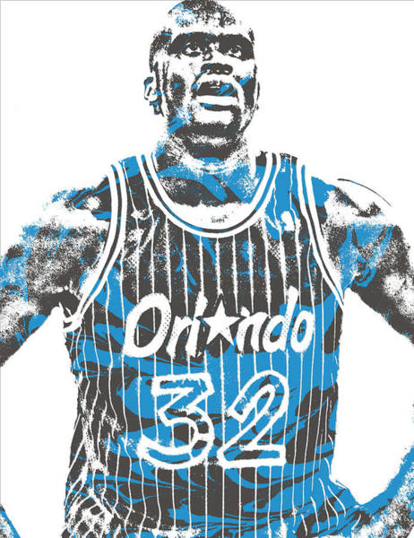 Magician Mixed Media - Shaquille Oneal Orlando Magic Pixel Art 6 by Joe Hamilton