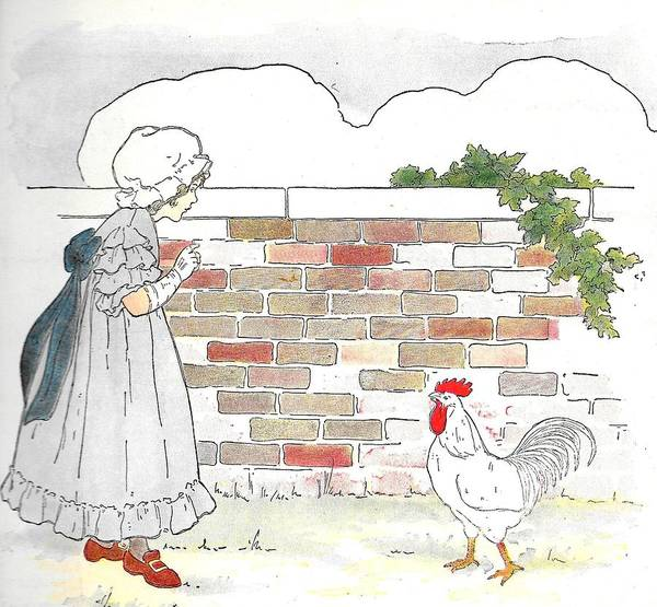 Mother Goose Drawing - Shara And The Rooster by Lord Frederick Lyle Morris - Disabled Veteran