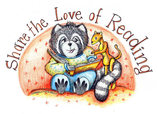 Ferrets Drawing - Share The Love Of Reading by Maria Gabriela Brazley