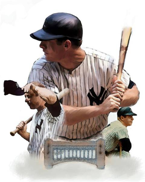 Mickey Mantle Wall Art - Painting - Shared Legacy Mickey Mantle by Iconic Images Art Gallery David Pucciarelli