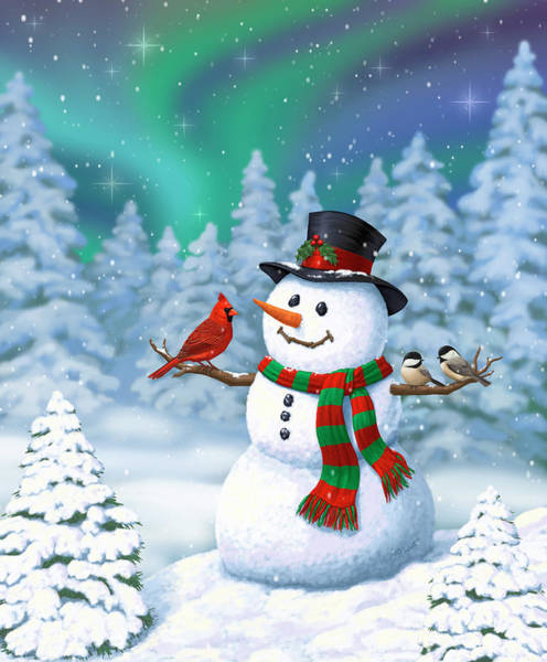 Aurora Borealis Painting - Sharing The Wonder - Christmas Snowman And Birds by Crista Forest
