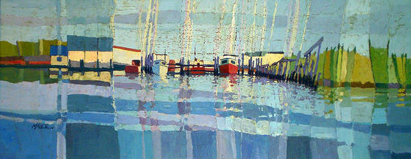 Fishing Boat Painting - Shark River Inlet by Donald Maier