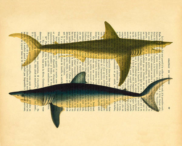 Sealife Wall Art - Digital Art - Sharks On Dictionary Art Paper Background by Madame Memento
