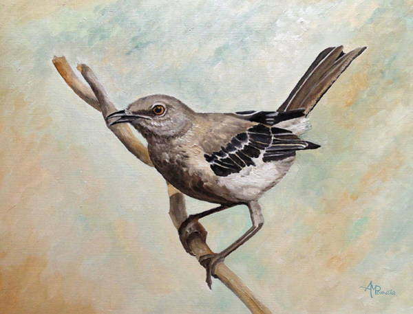 Harper Lee Wall Art - Painting - Sharp-eyed Mockingbird by Angeles M Pomata