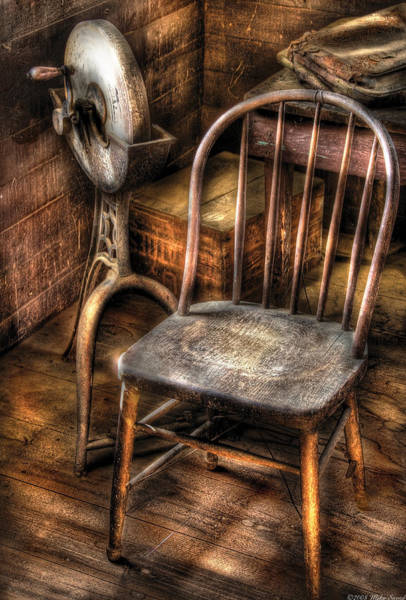 Earthtones Photograph - Sharpener - Grinder And A Chair by Mike Savad