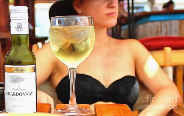 She Mixed Media - She And Wine by Yury Bashkin