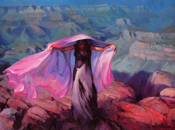 Red Moon Painting - She Danced By The Light Of The Moon by Steve Henderson
