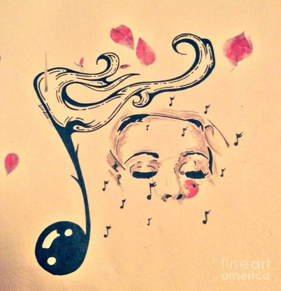 Abstract Expressionist Drawing - She Feels Music by Lowkey  Luciano