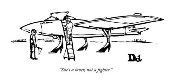 Plane Drawing - She Is A Lover Not A Fighter by Drew Dernavich