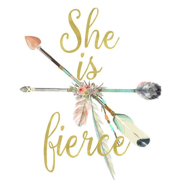 She Digital Art - She Is Fierce Boho Tribal Gold Blush Arrow Print by Pink Forest Cafe