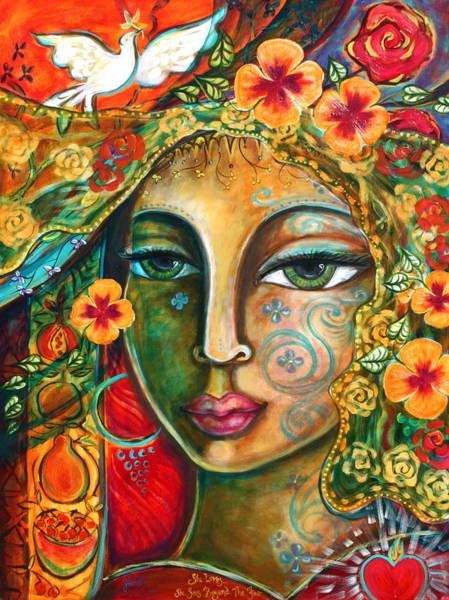 Sacred Heart Painting - She Loves by Shiloh Sophia McCloud
