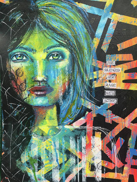 Anger Wall Art - Mixed Media - She Silenced Her Rage With Action by Lynn Colwell