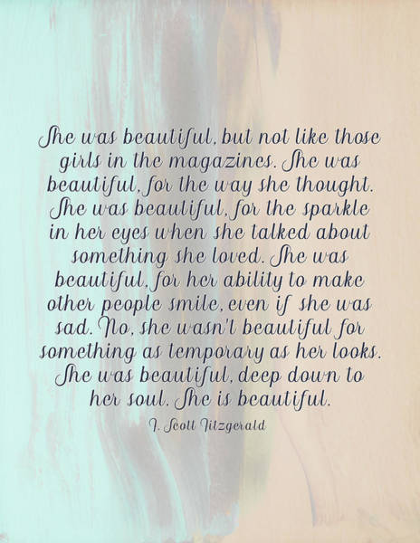 Photograph - She Was Beautiful By F. Scott Fitzgerald 4 #painting #minimalism #poem by Andrea Anderegg