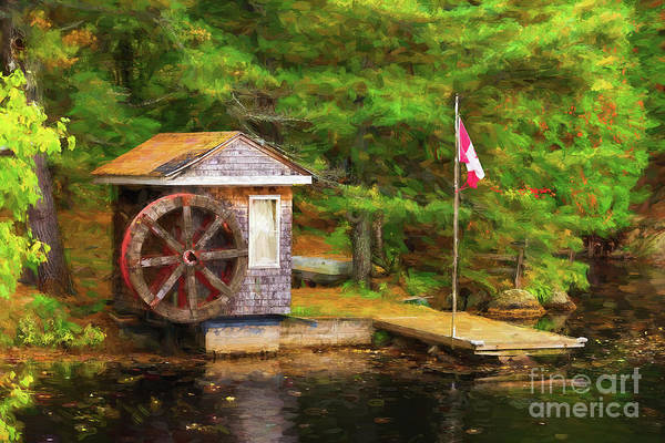 Photograph - Shed With Wooden Wheel - Painterly by Les Palenik