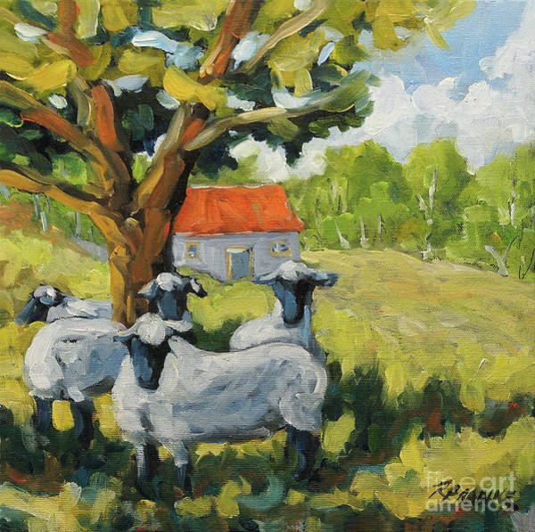 Wall Art - Painting - Sheep And Shade by Richard T Pranke