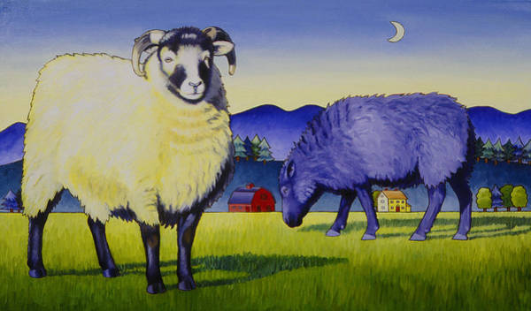 Ram Painting - Sheep At Sunset by Stacey Neumiller