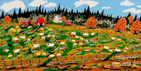 Wall Art - Painting - Sheep Farm by Jeffrey Koss