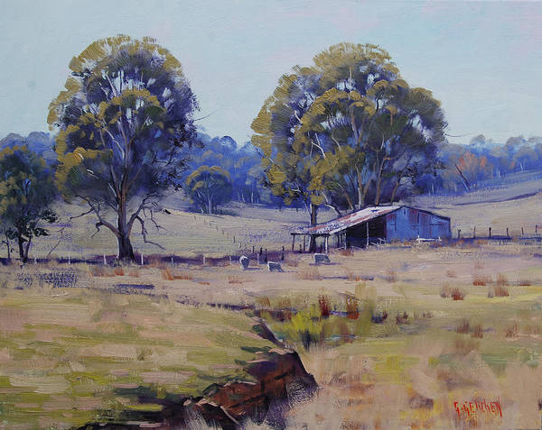 Sheep Painting - Sheep Farm Landscape by Graham Gercken