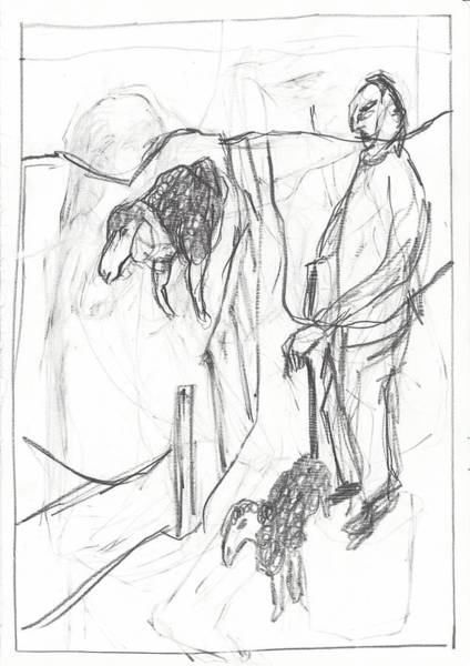 Drawing - Sheep Farmer by Artist Dot