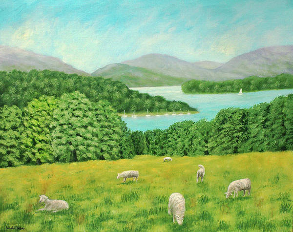 Windermere Painting - Sheep Grazing By Lake Windermere by Ronald Haber