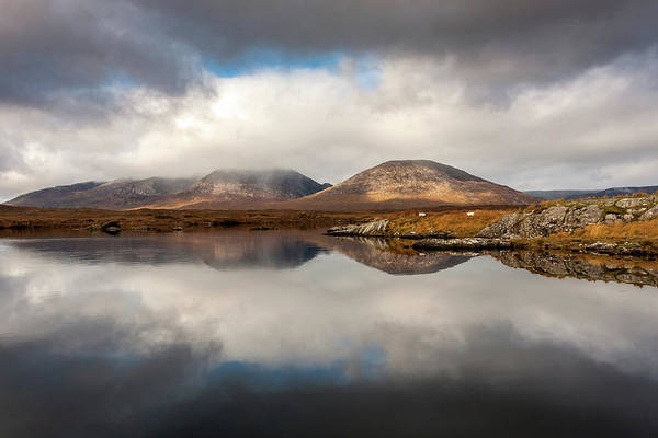Photograph - Sheep Grazing In The Reflected Connemara Landscape Ireland by Pierre Leclerc Photography