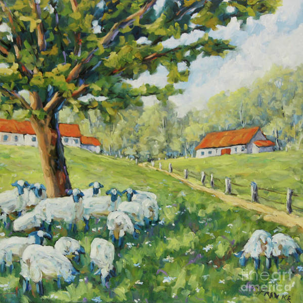 Wall Art - Painting - Sheep Huddled Under The Tree Farm Scene by Richard T Pranke