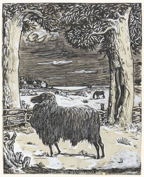 Wall Art - Painting - Sheep In A Landscape With Two Trees, Richard Roland Holst, 1878 - 1938 by Richard Roland Holst