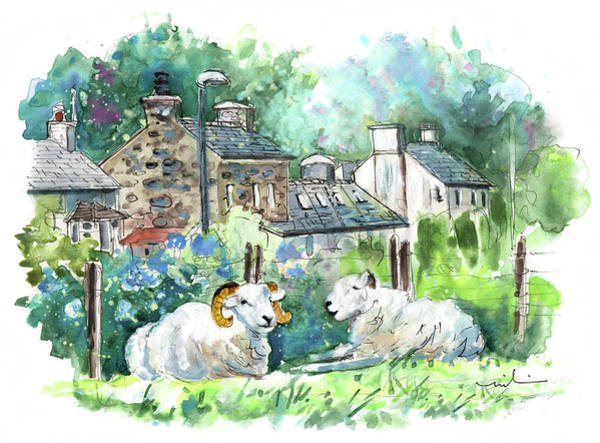 Painting - Sheep In Clynnog Fawr In Wales by Miki De Goodaboom