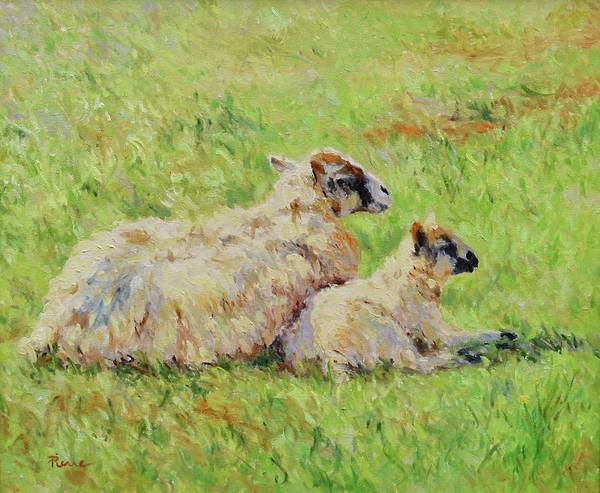 Painting - Sheep In The Spring Time,la Vie Est Belle by Pierre Van Dijk