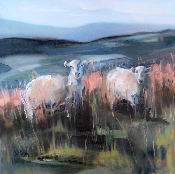 Painting - Sheep On A Hill At Brecon Beacons South Wales by Donna Tuten