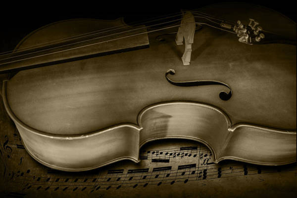 Photograph - Sheet Music With Cello Stringed Instrument  In Sepia by Randall Nyhof