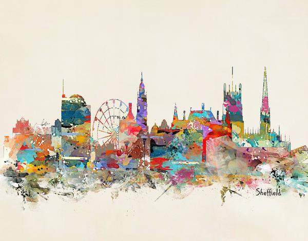 Kingdom Wall Art - Painting - Sheffield England Skyline by Bri Buckley