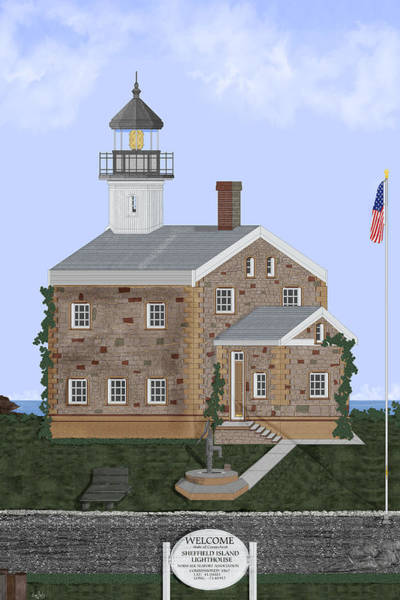 Wall Art - Painting - Sheffield Island Lighthouse Connecticut by Anne Norskog