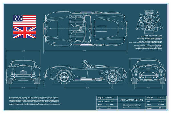 Ford Drawing - Shelby American 427 Cobra Blueplanprint by Douglas Switzer