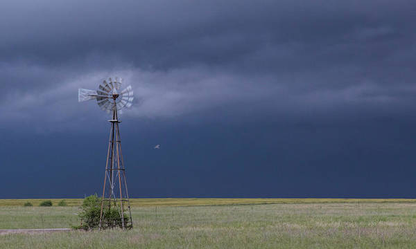 Shelf Cloud And Windmill -02 Art Print