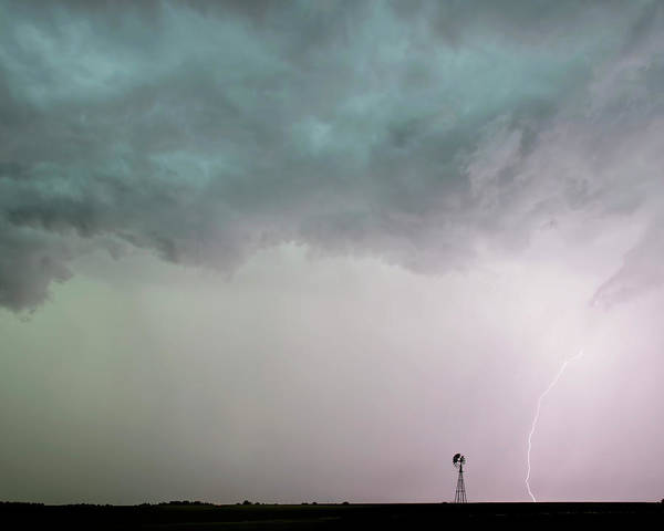 Photograph - Shelf Cloud And Windmill -05 by Rob Graham