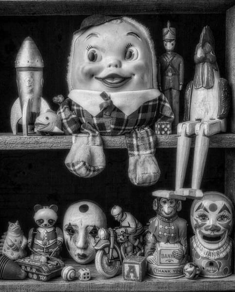Wall Art - Photograph - Shelf Of Old Toys In Black And White by Garry Gay