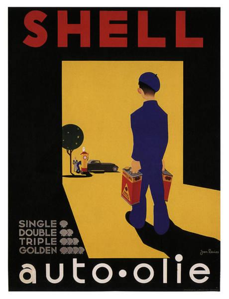 Art Nouveau Mixed Media - Shell Auto Olie - Vintage Advertising Poster by Studio Grafiikka