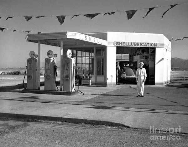 Photograph - Shell Gas Station 1941 by California Views Archives Mr Pat Hathaway Archives