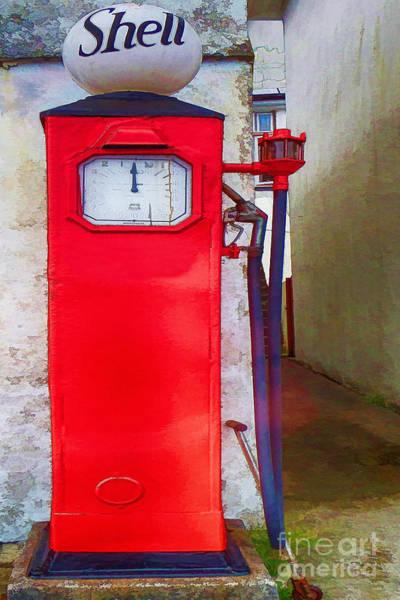 Petroleum Drawing - Shell Gasoline Fuel Petrol Pump  by L Wright