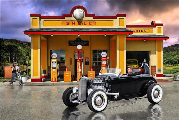 Rat Rod Wall Art - Digital Art - Shell Station .... by Rat Rod Studios