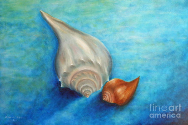 Wall Art - Painting - Shells In Blue by Gabriela Valencia