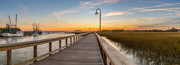 Photograph - Shem Creek Pier Panoramic by Donnie Whitaker