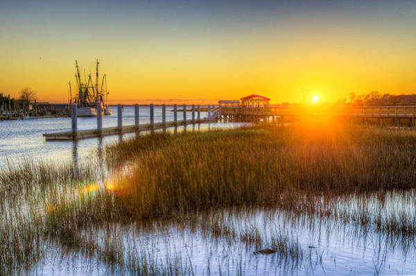 Orange Wood Photograph - Shem Creek Sunset - Charleston Sc  by Drew Castelhano