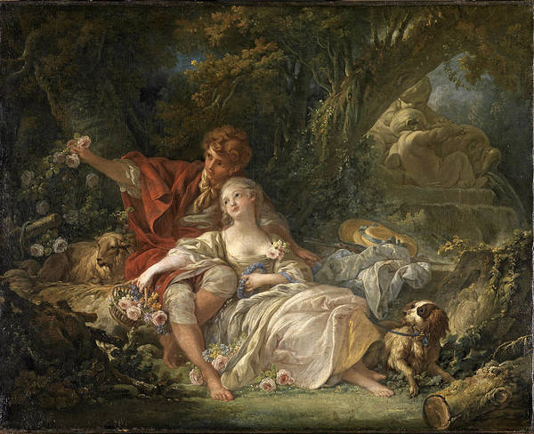 Francois Boucher Painting - Shepherd And Shepherdess by Francois Boucher