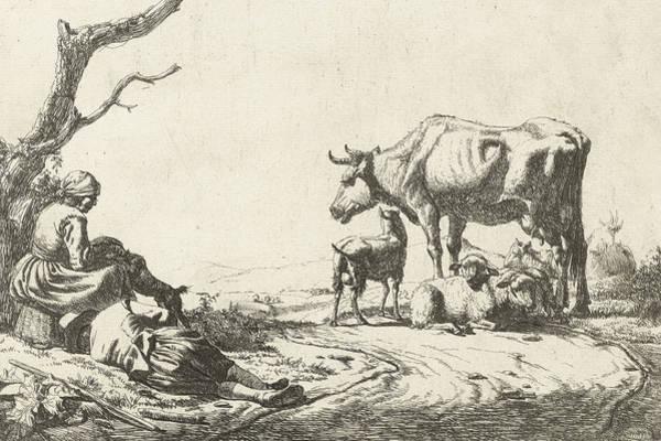 Maid Drawing - Shepherd And Shepherdess With Cattle by Adriaen van de Velde