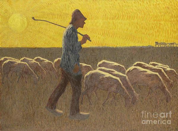 Wall Art - Painting - Shepherd With Sheep  by Cornelis Albert van Assendelft