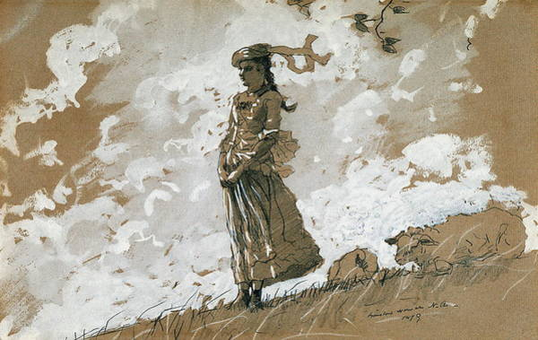 Wall Art - Painting - Shepherdess And Sheep by Winslow Homer
