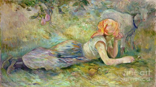 Pensive Painting - Shepherdess Resting by Berthe Morisot