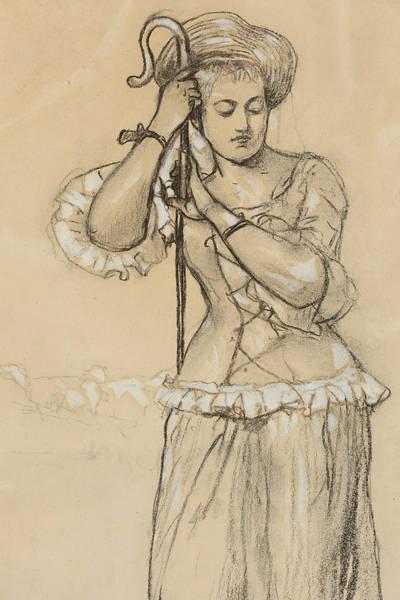 The Shepherdess Wall Art - Drawing - Shepherdess by Winslow Homer